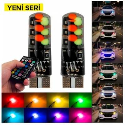 Kumandalı Çakarlı T10 Araç Park Ampulü ( 2 Adet ) 18 Led RGB Park Stop Çakar Lamba Ampül Yeni Seri